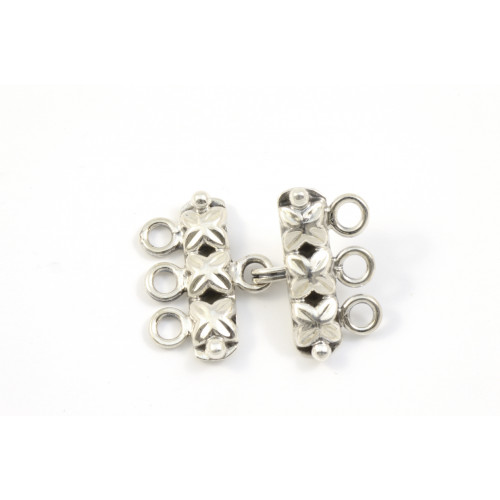 FERMOIR 3 RANGS CROCHET ARGENT STERLING