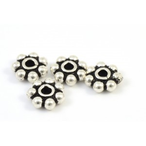 ANTIQUE STERLING SILVER .925 BALI BEAD DAISY 6MM
