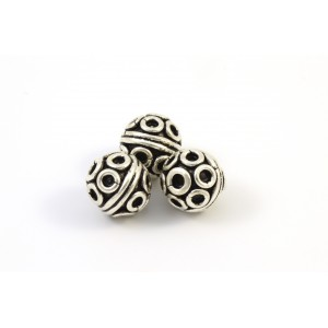 8MM BEAD ROUND BALI STERLING SILVER .925*