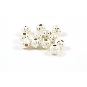 6MM BEAD ROUND STARDUST STERLING SILVER .925