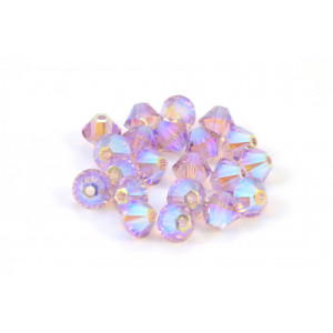 BICONE SWAROVSKI (5328) 4MM LIGHT AMETHYST 2XAB