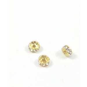 SWAROVSKI RONDELLE 4X2MM CRYSTAL CLEAR GOLD PLATED