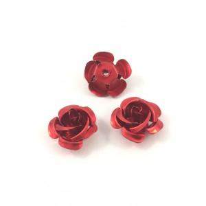 Billes d'aluminium fleur rouge (paquet de 2)
