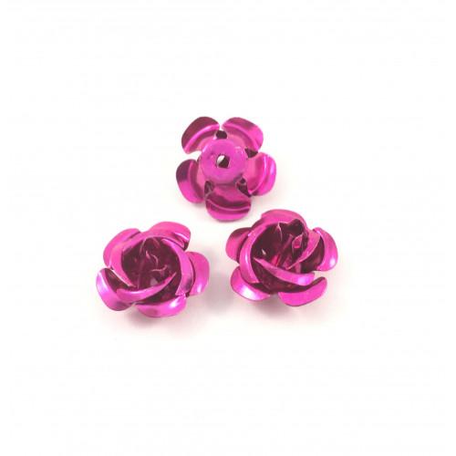 Billes d'aluminium fleur rose (paquet de 2)