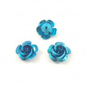 Billes d'aluminium fleur bleu (paquet de 2)