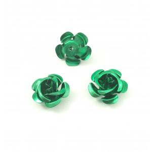 Billes d'aluminium fleur vert (paquet de 2)
