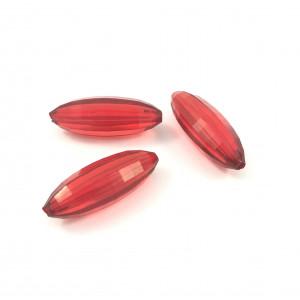 Billes acryliques longues ovales rouges*