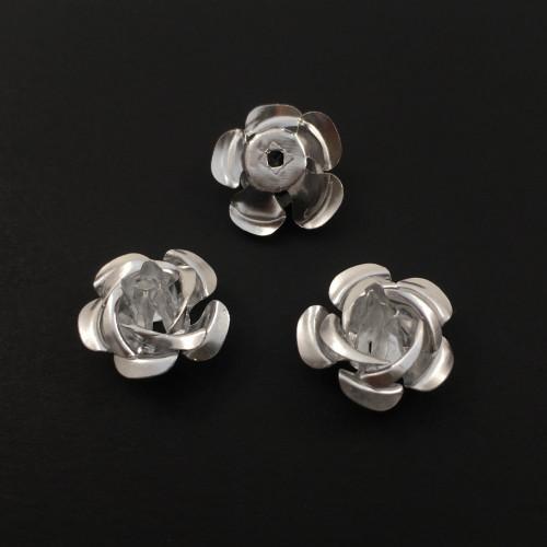 Billes d'aluminium fleur argent (paquet de 2)