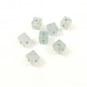*Billes carrée en résine aqua avec Swarovski bleu