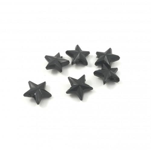 Billes plastique étoile opaque noir (paquet de 10)