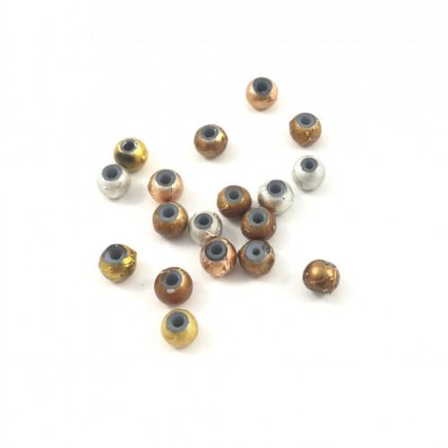 Billes spectra glass multicolore métallique ronde petit (paquet de 10)