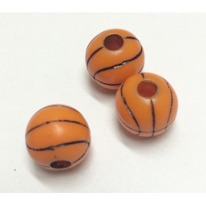 BILLE ACRYLIQUE BALLON DE BASKETBALL ORANGE ET NOIR 12MM