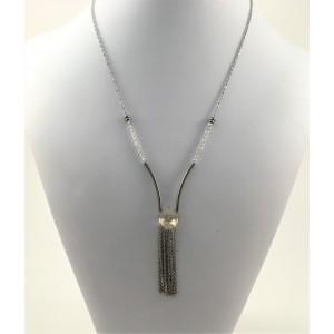 Crystals and tassel necklace