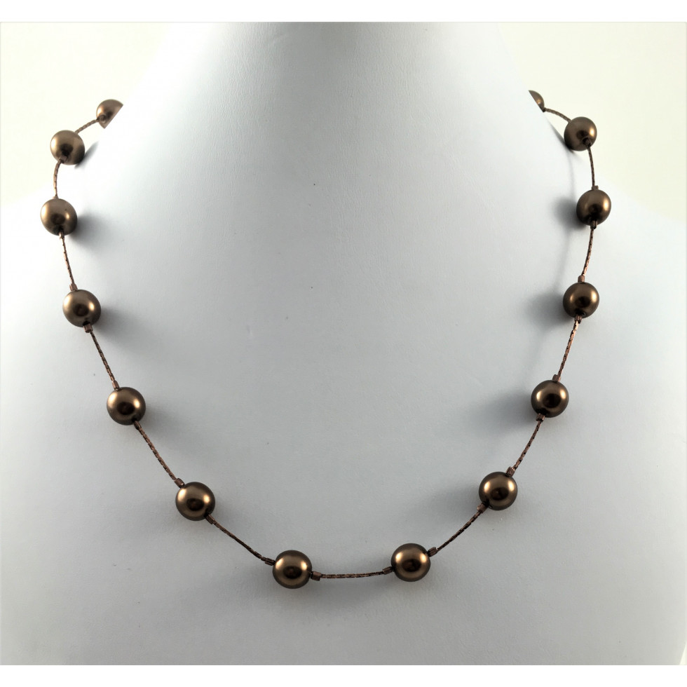 ed8f33c349e7f Everyday brown pearls necklace – Perles et Creations