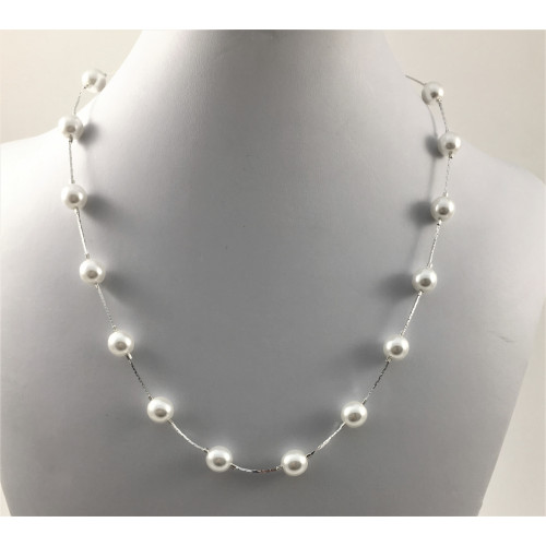 Collier passe-partout perles blanches