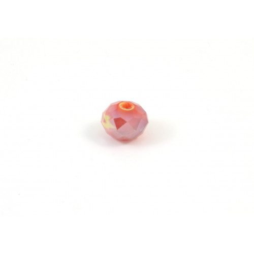 Bille de verre marbled yellow and red AB 9x6mm
