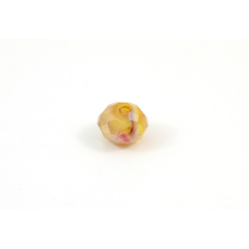 Bille de verre marbled amber yellow AB 9x6mm