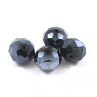 Facette opaque jet hematite 17x14mm*