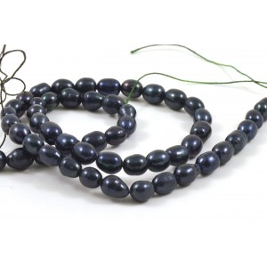 CULTURED FRESHWATER  PEARLS RICE 6MM NAVY BLUE