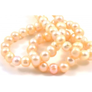 CULTURED FRESHWATER PEACH PEARLS SEMI ROUND 7MM