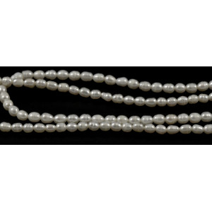 CULTURED FRESHWATER WHITE PEARLS RICE 4MM