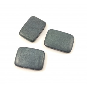 Billes de bois 30x20 mm deux trous rectangle plat gris*