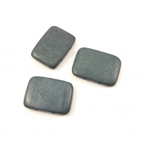 Billes de bois 30x20 mm deux trous rectangle plat gris