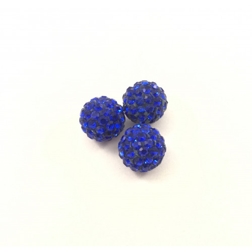 Bille pavé style shamballa 10 mm bleu royal