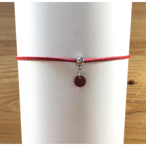Collier chocker rouge avec rivoli Swarovski