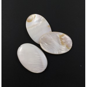 Billes ovale plate mother-of-pearl coquillage blanc*