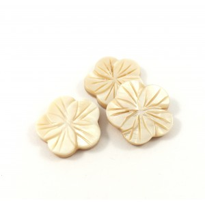 Billes mother-of-pearl coquillage fleurs scupltées 20 mm beige*