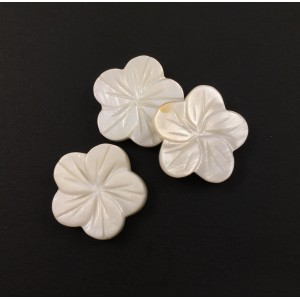 Billes mother-of-pearl coquillage fleurs scupltées 18 mm blanche*