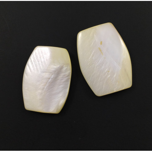 Billes mother-of-pearl coquillage rectangle plat arrondi jaune pâle*