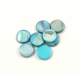 Billes ronde plat 10 mm mother-of-pearl coquillage turquoise