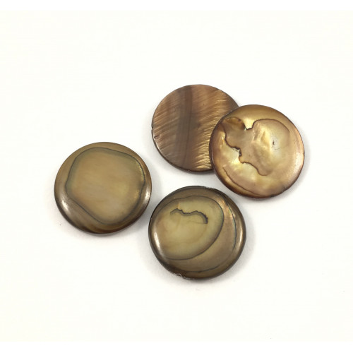 Billes 20 mm ronde plat mother-of-pearl coquillage brun*