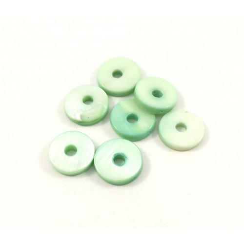 Billes ronde donut 13 mm mother-of-pearl coquillage menthe verte*