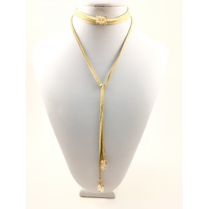 Collier long cuir de daim beige