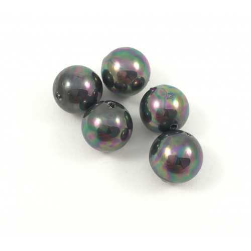 BILLES RONDES 10MM COQUILLAGE PERLES NOIRES