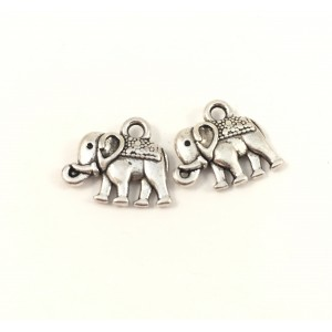 BRELOQUE ARGENT ANTIQUE ELEPHANT 12X13MM