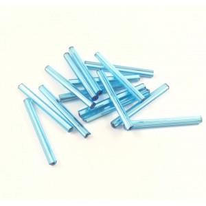 Tube de verre Czech bleu 25x2 mm